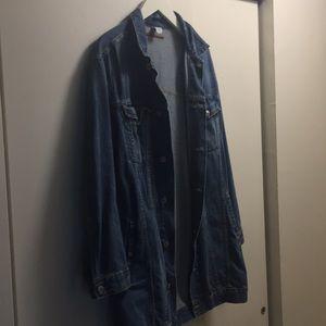 Long light denim jacket